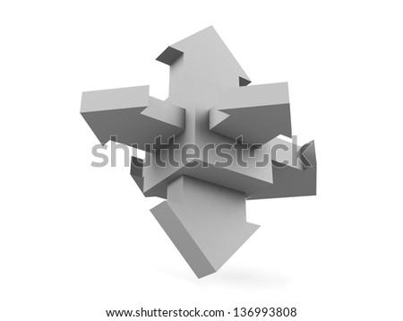 Arrows on a white background. - stock photo