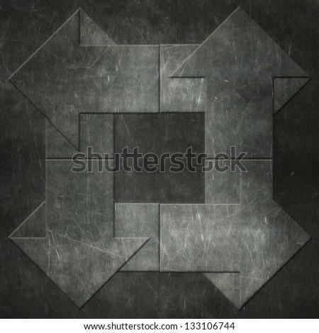 Arrows on metal grunge board - stock photo