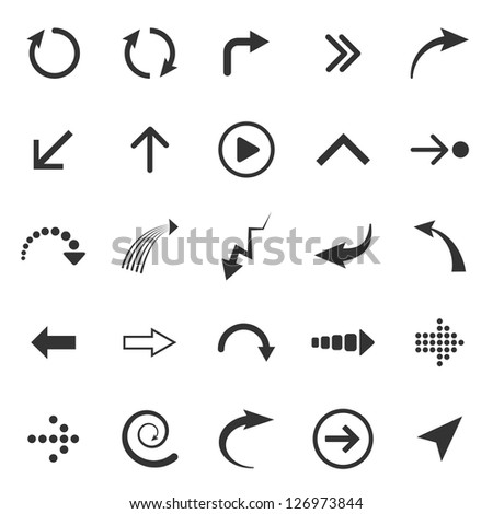 Arrows signs isolated on white background - stock photo
