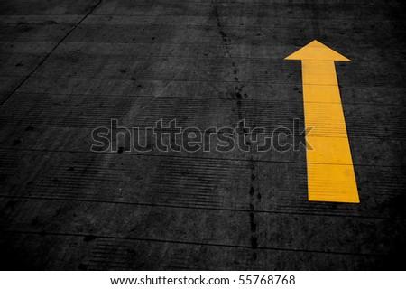 Arrows, the road - stock photo