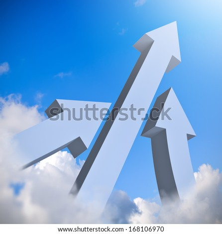 Arrows up in blue sky, business concept