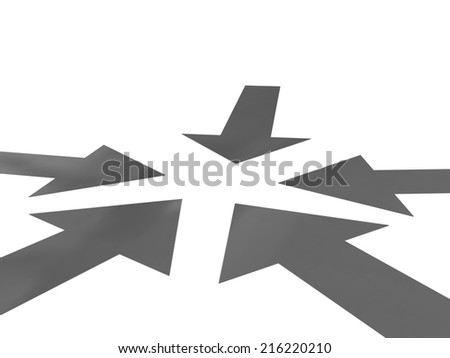 arrows way and earth on a white background - stock photo