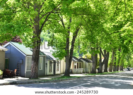 ARROWTOWN,NZ - Nov 17:Arrowtown on Nov 17 2014.It's a popular travel destination with well preserved buildings used by European and Chinese immigrants dating from the gold mining days of the town - stock photo