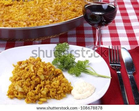 Arroz a Banda. Traditional Valencian Dish.  The �Arroz A Banda� is a kind of seafood paella cooked  with seafood  stock. - stock photo