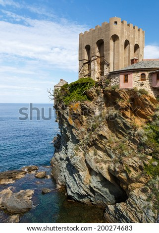 Arsanas (port) of Megistis Lavras medieval Monastery on Holy Mount Athos