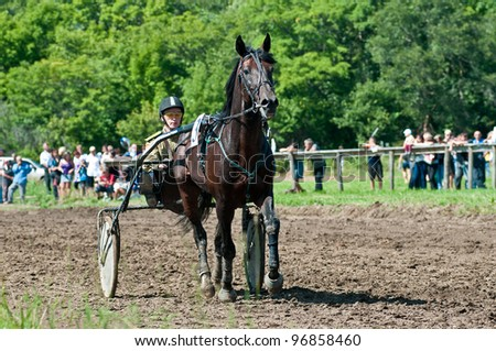 "ARSENEV, RUSSIA - SEPTEMBER 03:  Unidentified trotters race in arena on Riding show ""The Cup of the Governor of the Primorsky Territory, 2011"" on Sept 03, 2011 in Arsenev, Russia"