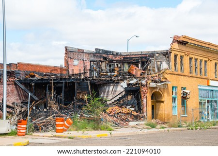 Arson Burned Building - stock photo