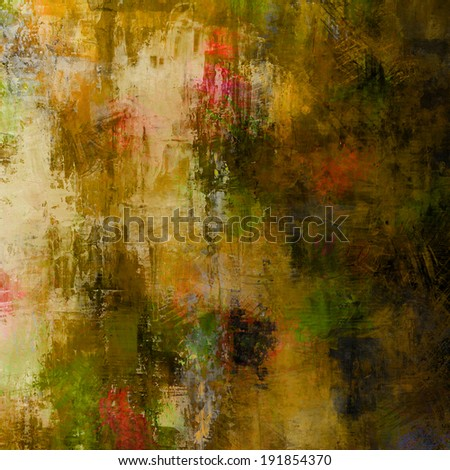 art abstract acrylic and pencil background in beige, yellow, brown, green and pink colors - stock photo