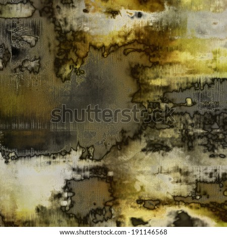 art abstract acrylic and pencil background in grey, yellow, black and brown colors - stock photo