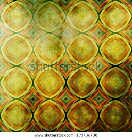 art abstract acrylic and pencil colorful background with art deco styles pattern in old gold, yellow, green and brown colors - stock photo