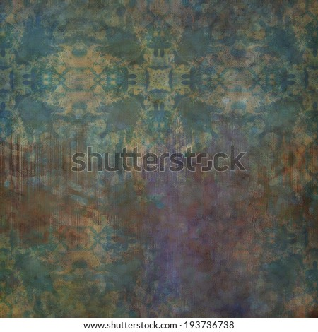 art abstract acrylic and pencil colorful background with damask pattern in blue, violet, beige and brown colors - stock photo