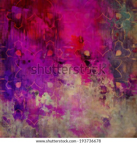 art abstract acrylic and pencil colorful background with damask pattern in fuchsia, folly, pink, magenta, beige and blue-green colors - stock photo