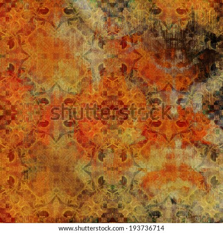 art abstract acrylic and pencil colorful background with damask pattern in orange, red, black, beige and brown colors - stock photo