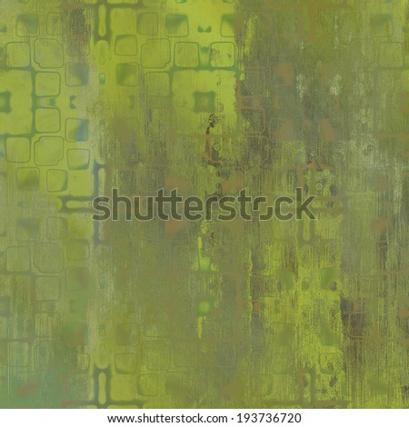 art abstract acrylic and pencil light colorful background with damask pattern in green and brown colors - stock photo
