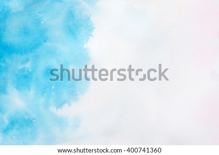 Art Abstract background - Blue watercolor paint on white paper - stock photo