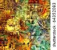 art abstract bright rainbow geometric background - stock photo