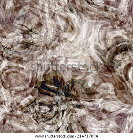 art abstract colorful chaotic waves seamless pattern; background in grey, white and black colors - stock photo
