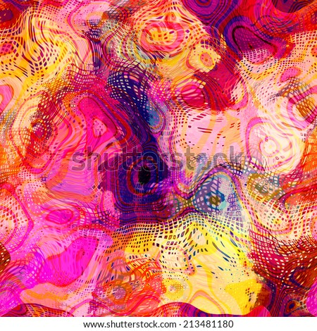 art abstract colorful chaotic waves seamless pattern; background in pink, fuchsia, coral, red, violet, white and golden yellow colors - stock photo