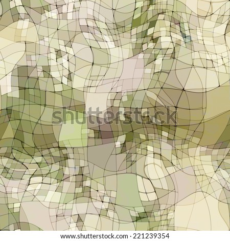 art abstract colorful chaotic waves seamless pattern, transparency background in white, beige and green colors - stock photo