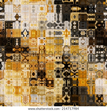 art abstract colorful geometric seamless pattern; tiled background in brown, gold, black and white colors - stock photo