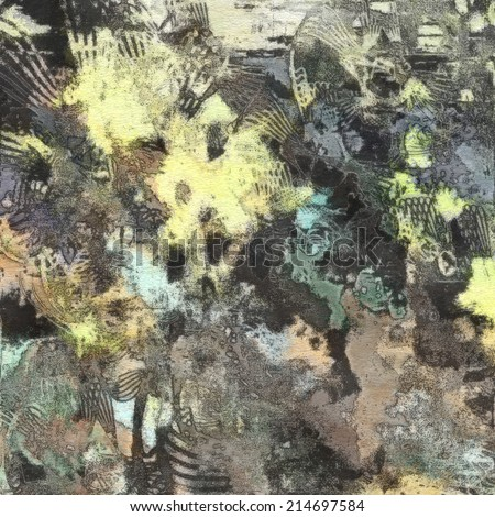 art abstract colorful watercolor background in light yellow, grey and black colors - stock photo
