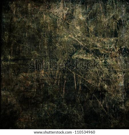 art abstract dark grunge textured monochrome black and gold beige background - stock photo
