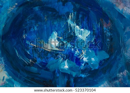 art abstract deep blue color background oil painted on canvas / deep blue color background texture oil painted