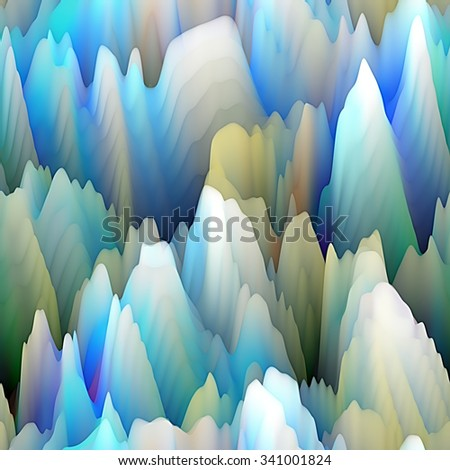 art abstract fractal wave  blurred background in blue, grey, old gold and white colors; seamless pattern; 3d effect - stock photo