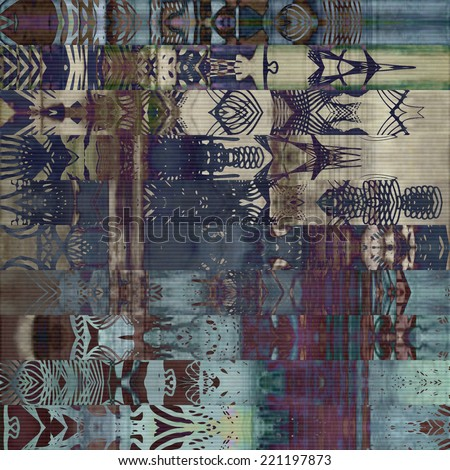 art abstract geometric horizontal stripes pattern, paper textured background in blue, beige, grey, purple and brown colors; vertical seamless ornament