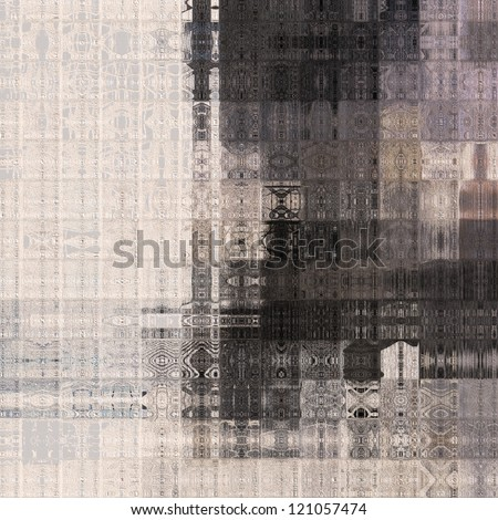 art abstract geometric pattern, tiled monochrome paper textured background in white, grey and black colors - stock photo
