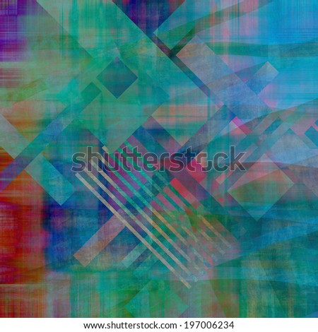 art abstract geometric textured colorful background in vanguard style in green, pink, red and blue colors