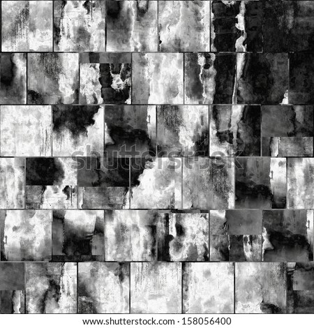 art abstract geometric textured monochrome watercolor background in black and white colors, seamless tiles pattern - stock photo