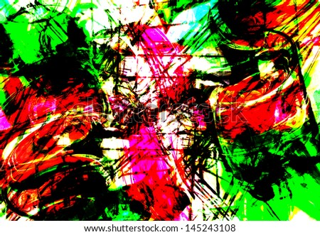art abstract graphic aggressive grunge background in red and green
