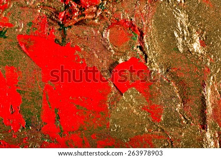 art abstract grunge golden background illustration. Fragment of an original painting. Gold luminescence. Oil and on canvas