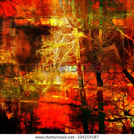 art abstract grunge graphic texture background in bright red, orange, gold, brown and black colors with silhouette of trees