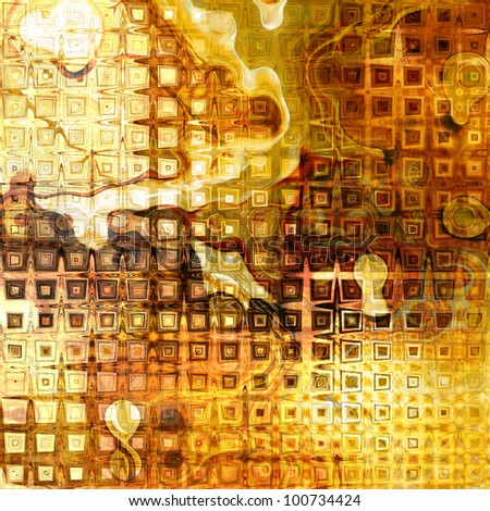 art abstract grunge monochrome golden geometric background with yellow, orange, brown and white halftone and waves
