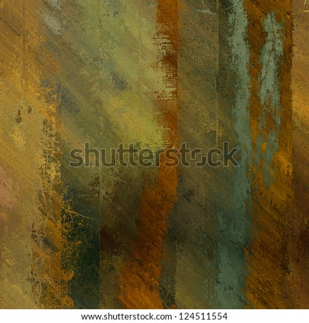 art abstract grunge textured background in gold, orange and green vertyical stripes