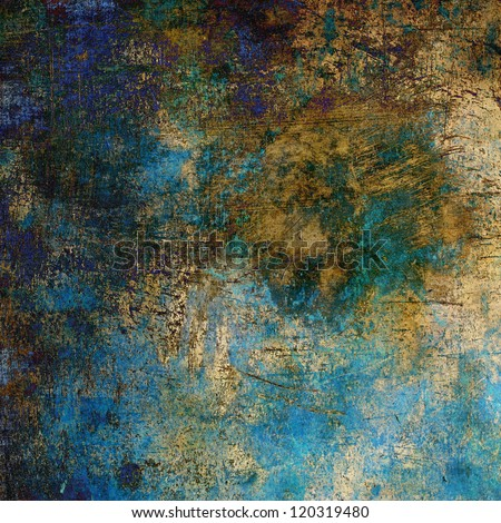 art abstract grunge textured background with blue, violet, brown and golden blots - stock photo