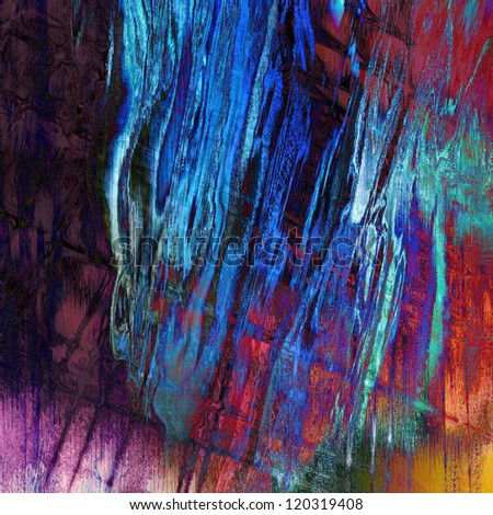 art abstract grunge, textured rainbow background with blue, violet, pink and red blots