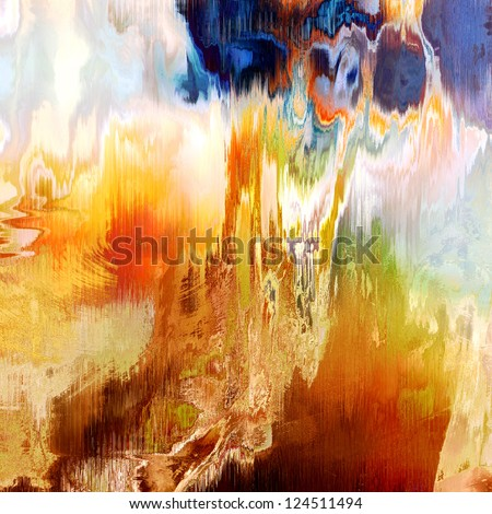 art abstract grunge vibrant colorful blurred background with brown, orange, white and blue blots - stock photo