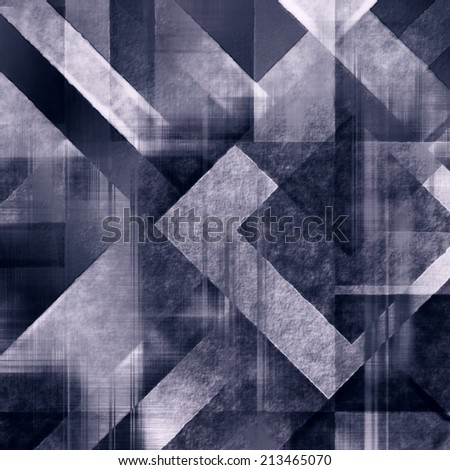 art abstract monochrome geometric pattern; tiled background in dark purple blue, white and black colors - stock photo