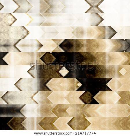 art abstract monochrome geometric pattern; tiled background in white, black, grey, beige and brown colors - stock photo