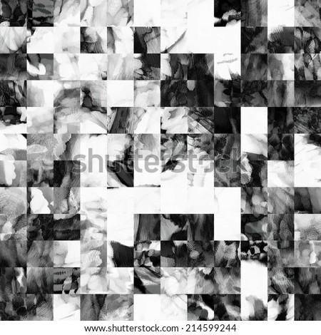 art abstract monochrome geometric seamless pattern, tiled background in white, grey and black colors - stock photo