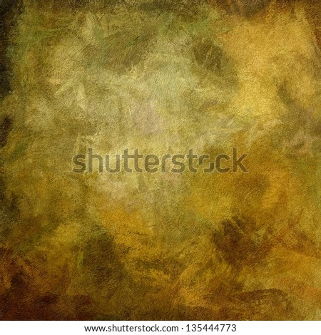 art abstract oil painted textured old gold, olive and brown monochrome background