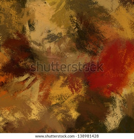 art abstract painted background in beige and brown colors, with red blots - stock photo
