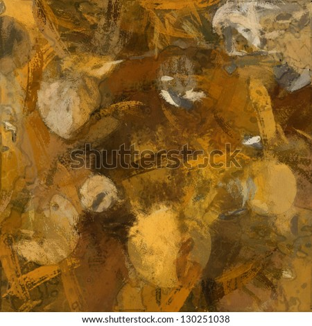 art abstract painted background in brown, yellow, orange, and white colors - stock photo