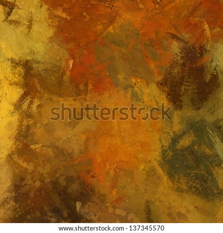 art abstract painted background in gold, green and red colors - stock photo