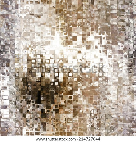 art abstract pixel geometric seamless pattern; monochrome background in white, beige, brown and grey colors - stock photo