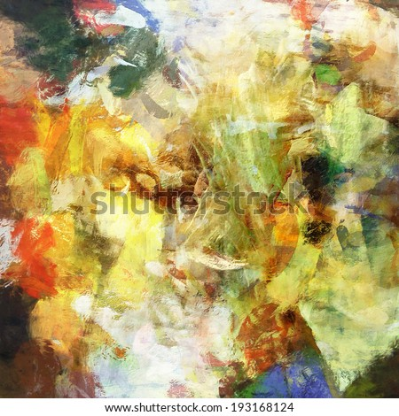 art abstract rainbow watercolor and acrylic background with white, yellow, red, green, brown and blue blots - stock photo