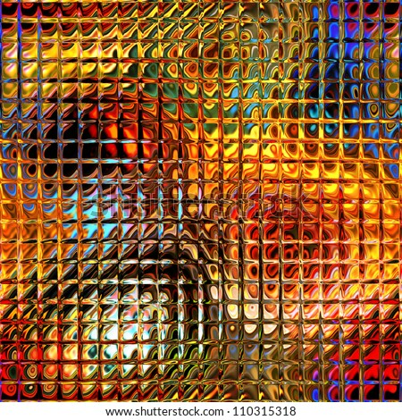 art abstract seamless geometric pattern, glass textured blurred rainbow and gold  tiled background - stock photo